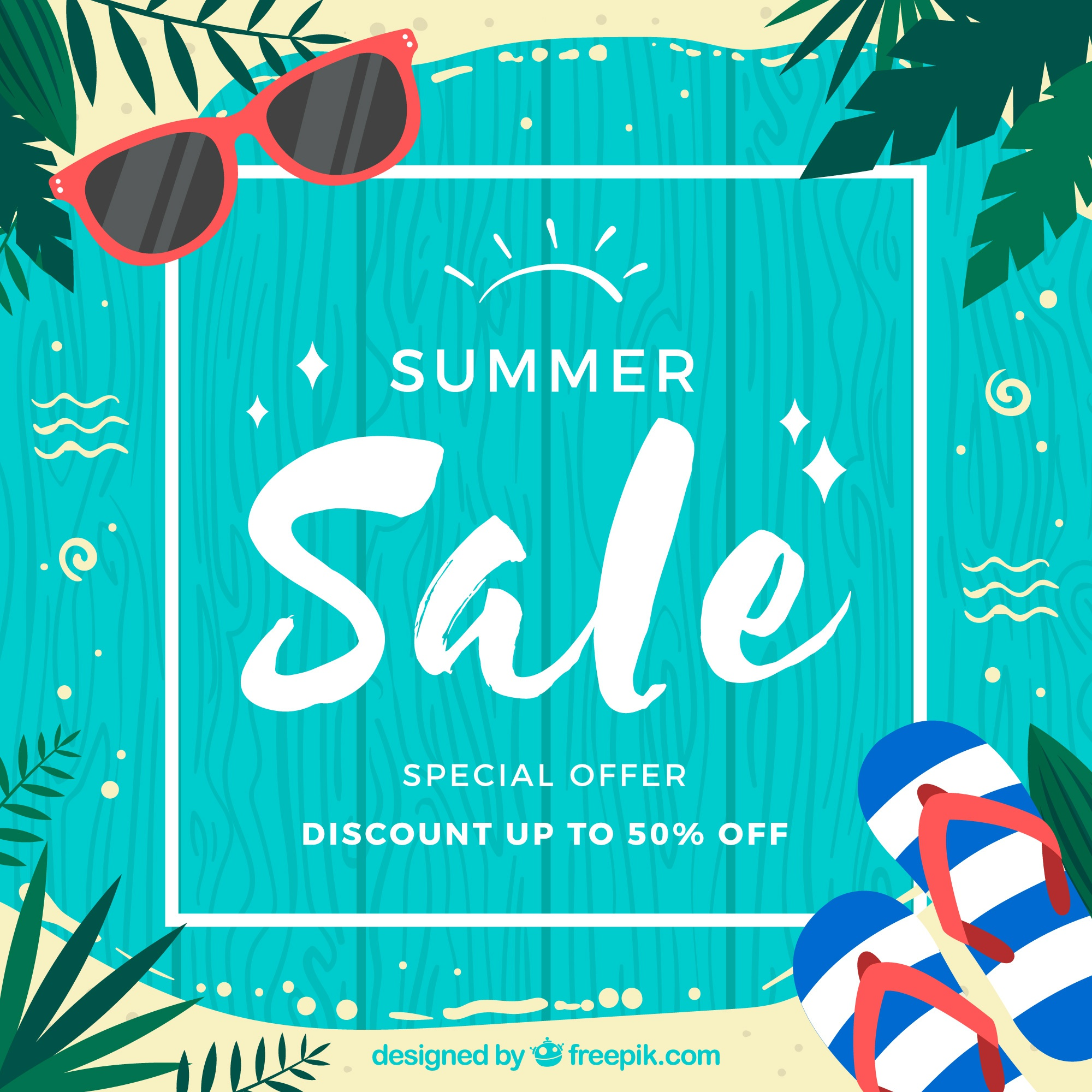 Summer sale background with wooden planks