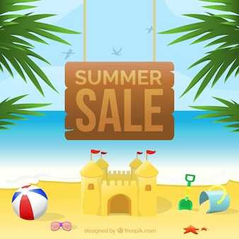 Summer sale background with wooden sign