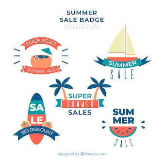 Summer sale badges collection with beach elements