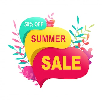 Summer sale banner 50 discount. tropical hot promo bubble sign for seasonal design.