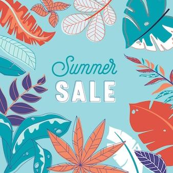 Летняя распродажа баннер, абстрактный цветочный фон в стиле акварели каракули с ботаническим орнаментом. листья и узор травы, промо-рекламный плакат, флаер со скидкой в магазине. векторные иллюстрации шаржа