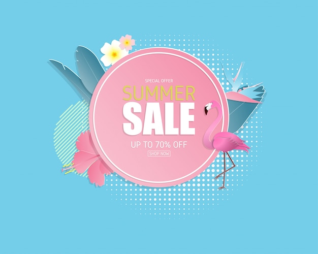 Summer sale banner background in paper cut style. illustration design. poster. flyer. brochure. banner. template. promotion advertising.