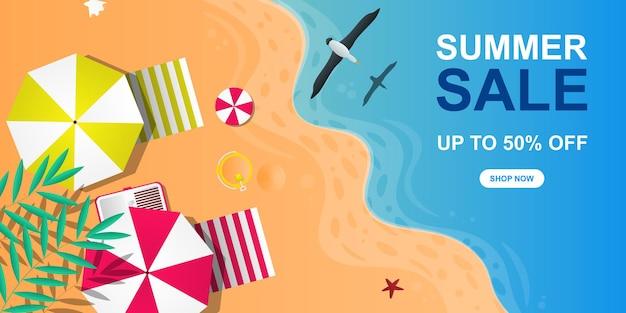 夏のセールバナーの背景とビーチベクトルイラスト