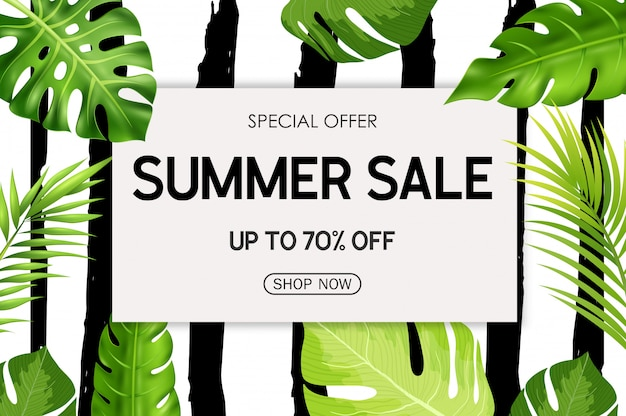 Summer sale banner background with tropical flowers