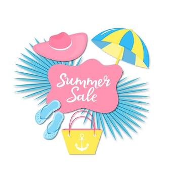 여름 판매 배너입니다. 비치 물건 슬리퍼, 가방, 모자, 종이 컷 스타일의 태양 우산.