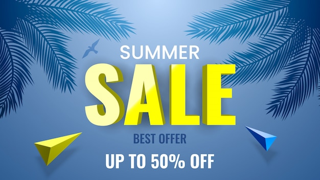 Summer sale banner, best offer, up to 50% off. tropical theme with palm branches.