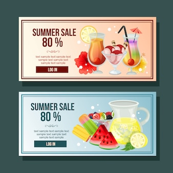 Летняя распродажа баннер коктейль напиток украшения горизонтальный освежающий векторная иллюстрация