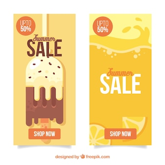 Summer sale banner collection with ice and oranges