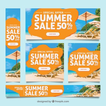 Summer sale banner collection with image