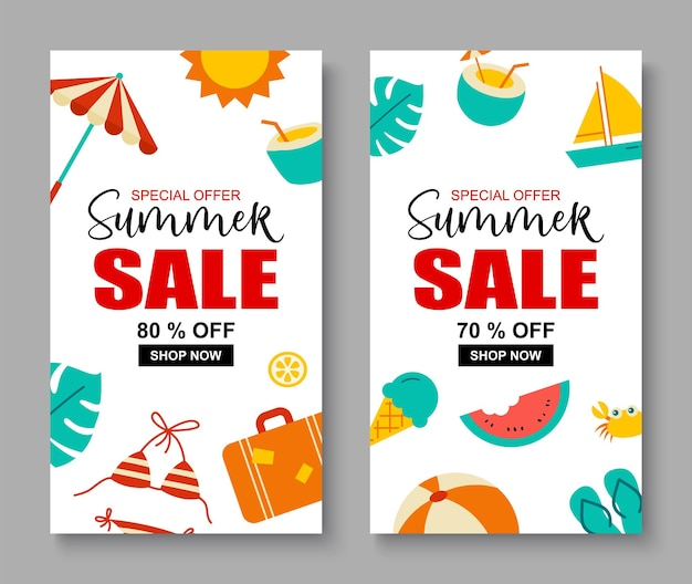 Summer sale banner cover template background. summer discount special offer cute design.