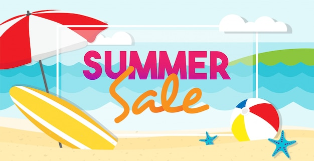 Summer sale banner design. summer beach