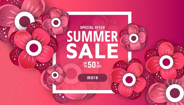 Summer sale banner design template