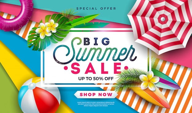 Summer sale banner design with beach ball, sunshade and exotic palm leaves