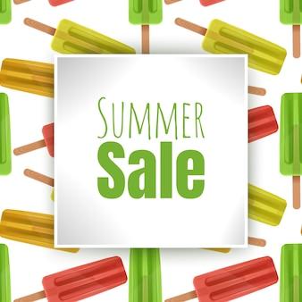 Летняя распродажа баннеров с разноцветным мороженым в мультяшном стиле