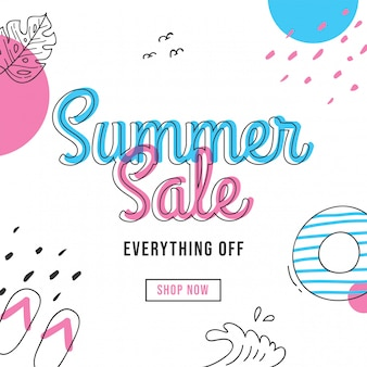 Summer sale banner design with doodle elements