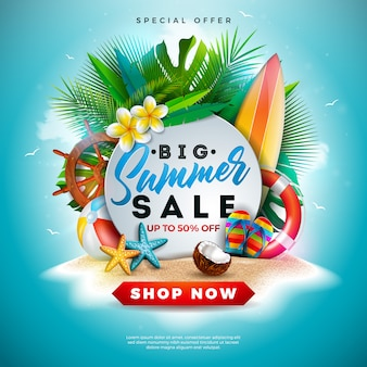 Summer sale banner design with flower exotic leaves on ocean blue
