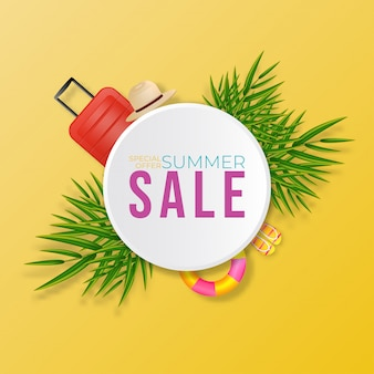 Summer sale banner design with palm.