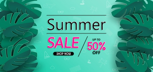 Summer sale banner design and with paper cut.