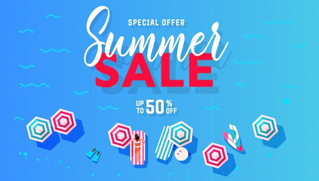Summer sale banner design with people relaxing with a cocktail on a tropical beach.