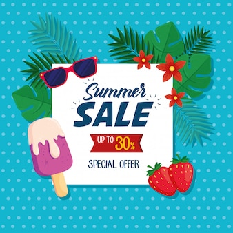 Summer sale banner, discount poster with sunglasses, ice cream, strawberries, tropical leaves, flower, invitation for shopping with summer sale up to thirty percent