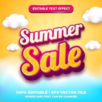 3d 구름 배경으로 여름 판매 배너 편집 가능한 텍스트 효과 만화 스타일
