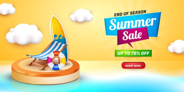 Summer sale banner end of season template with podium 3d