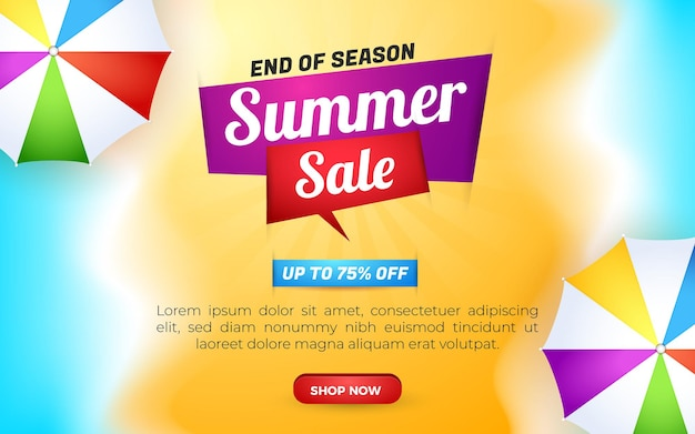Summer sale banner end of season with beach background