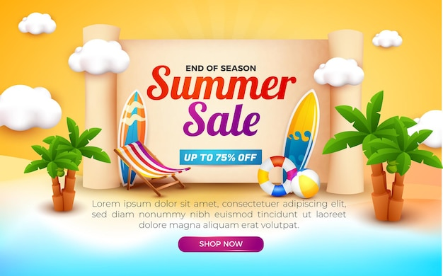 Summer sale banner end of season with beach background Premium Vector