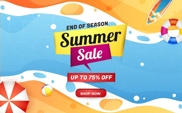 Summer sale banner end of season with beach