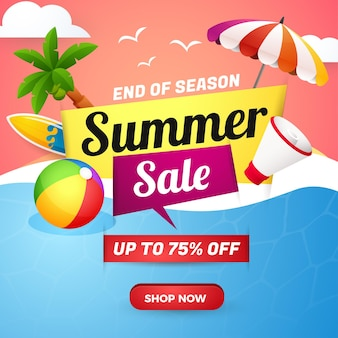 Summer sale banner end of season with sunset beach background