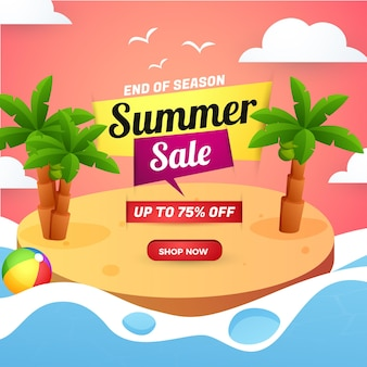 Summer sale banner end of season with sunset beach