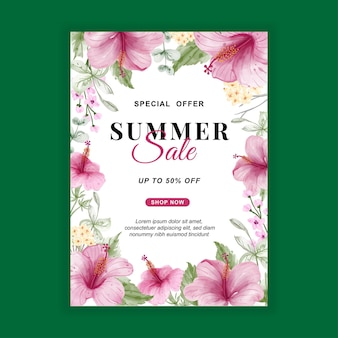 Summer sale banner flyer with flower hibiscus watercolor