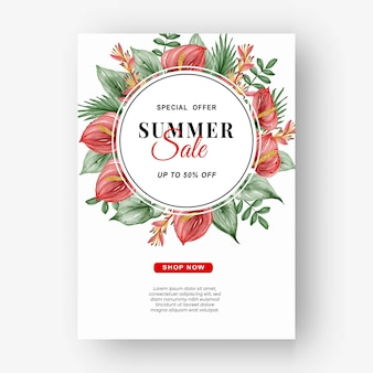 Летняя распродажа баннер-флаер с зеленью тропических листьев и акварелью антуриум