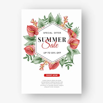 Summer sale banner flyer with greenery tropical leaf and anthurium watercolor