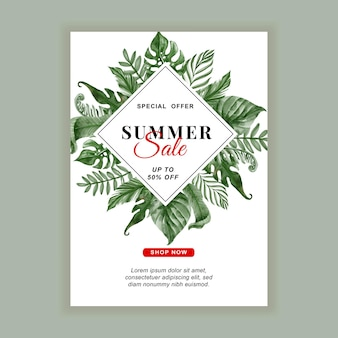 Summer sale banner flyer with greenery tropical leaf watercolor
