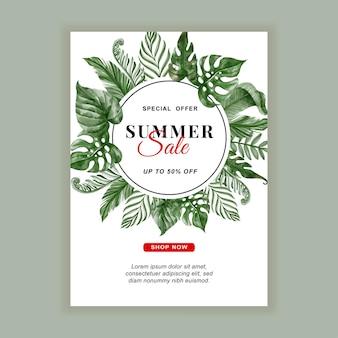 Летняя распродажа баннер флаер с зеленью тропических листьев