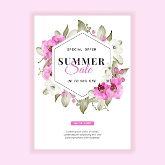 Summer sale banner flyer with orchid pink watercolor