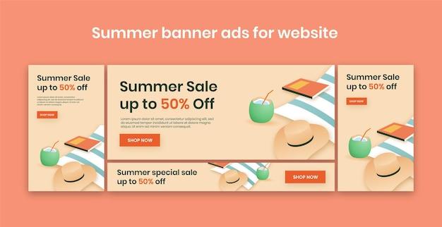 ウェブサイトの夏のセールバナー