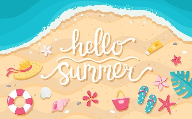 Летняя распродажа баннер. рисованной надписи, пляж и милые элементы. шаблон векторные иллюстрации