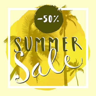 Summer sale banner. hand lettered advertisement with palm trees, square frame and watercolor circle