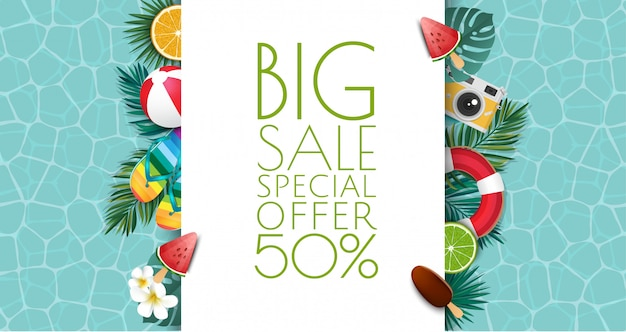 Summer sale banner illustration. tropical frame with sand beach, water, leaves and fruits, ice cream.