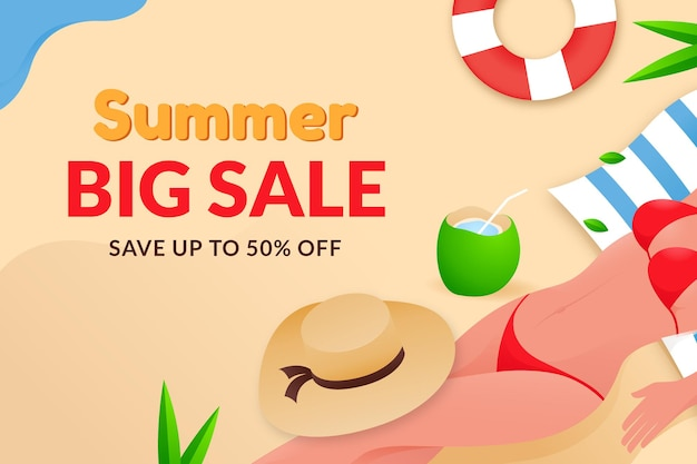 Summer sale banner illustration with woman woman sunbathing on the beach