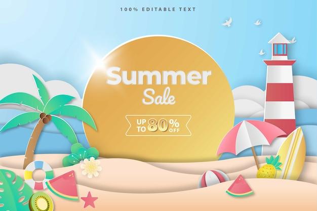 편집 가능한 텍스트 효과와 papercut 스타일의 여름 판매 배너