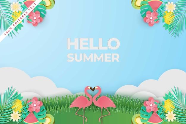 Papercut 스타일에서 여름 판매 배너