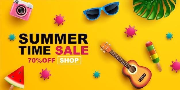 Summer sale, banner layout design,   illustration.