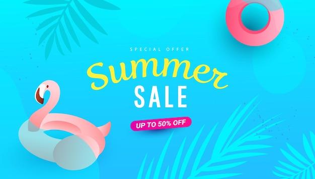 Летняя распродажа баннер дизайн шаблона дизайна с фламинго и листьями