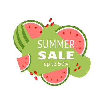 Summer sale banner for marketing promotion  with watermelon