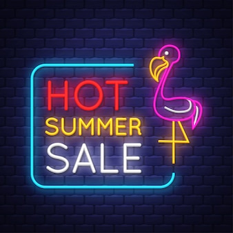 Summer sale banner. neon sign