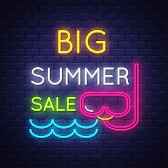 Summer sale banner. neon sign