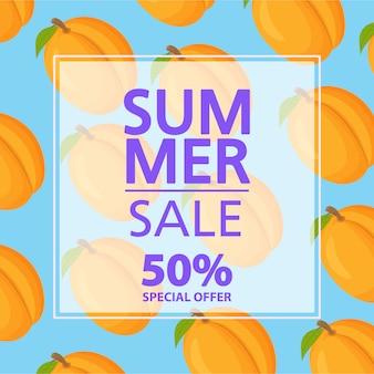 夏のセールのバナー。 50%割引。アプリコットトロピカルシトラスフルーツパターン。